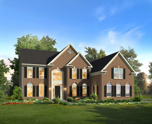 Hampton II Elevation with 3 Car Garage by Classic Homes